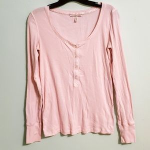 Victoria's Secret Pink Ribbed Long Sleeve Henley